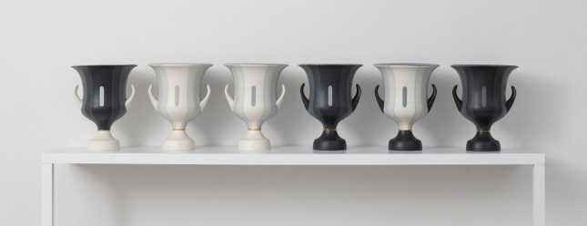 """Peter Pincus: Channeling Wedgwood at Ferrin Contemporary, North Adams, MA, 2018.'Calyx Krater: Excerpt from One Shows Two, Two Influence Twenty', 2018, 12.75 x 10.5 x 10.5"""" (each)."""