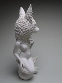"Crystal Morey, ""Siren: Sierra Nevada Red Fox and Oak"" 2019, hand sculpted porcelain, 16.25 x 6.5 x 6"""