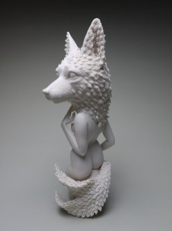"Crystal Morey, ""Siren: Sierra Nevada Red Fox and Oak"" 2019, hand sculpted porcelain, 16.25 x 6.5 x 6"""