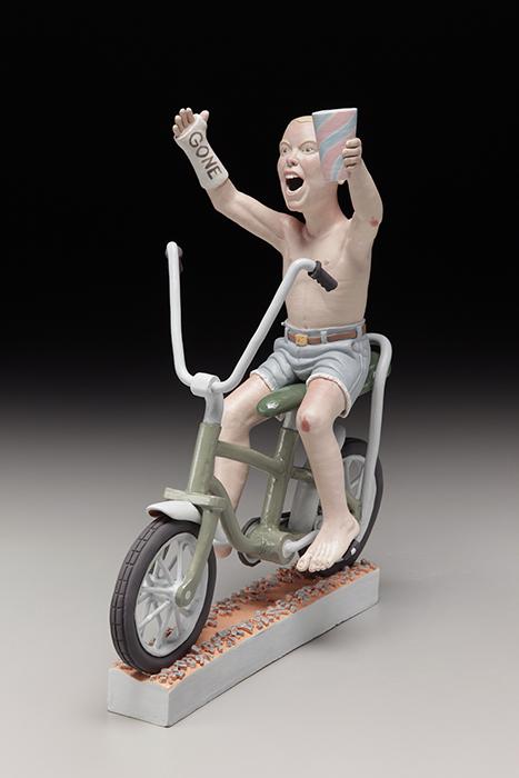 "Russell Biles, ""Gone"", 2014, hand built porcelain, 14"" x 6 x 11""."