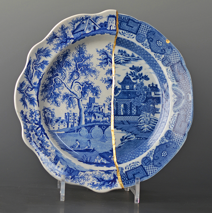 "Paul Scott, ""Cumbrian Blue(s), The Garden Series, Bridge/Bridgeless', 2019, collage with kintsugi, 'St Alban's Abbey' by Henshall with 'Chinoisserie Bridgeless' by Minton, (early 19th century transferwares), 10""diameter."