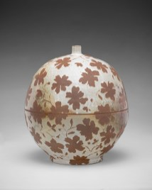 "Linda Sikora, ""Globe Jar"", 2018, stoneware, slip, 13.25 x 12 x 12""."