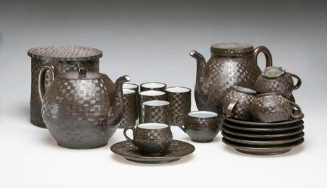 "Linda Sikora, ""Black Ware Group"", 2019, stoneware, Tea Kettle/Punch Pot: 8 x 12 x 8""; Tea Kettle/Punch Pot: 9 x 11.5 x 8""; Round Box: 8 x 8.25 x 8.25""; Tumblers (6): 4 x 3 x 3 (each); Cups and Saucers: Cups, 2.5 x 5 x 4"" (each) and Saucers, 1 x 8 x 8"" (each)"