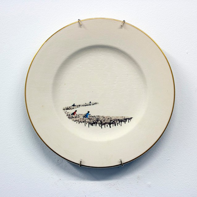 "Hollie Lyko, ""American Standard"", 2018, dremel-erased Syracuse China plate, originally titled 'Southern Cotton Fields', circa 1952, 10.5 x 10.5 x 1""."