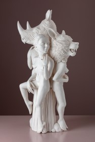 """Crystal Morey, """"Three Graces"""" 2019, hand-sculpted porcelain, 19 x 10 x 8""""."""