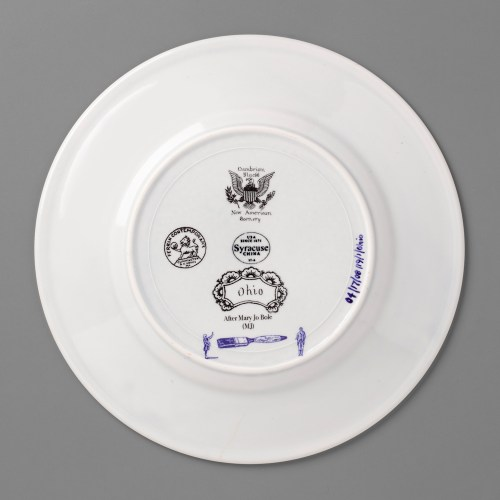 """Paul Scott, """"Scott's Cumbrian Blue(s), New American Scenery, Ohio"""" back, 2019, in-glaze screen print (decal) on salvaged Syracuse China with pearlware glaze, 12 x 12 x 1.25""""."""