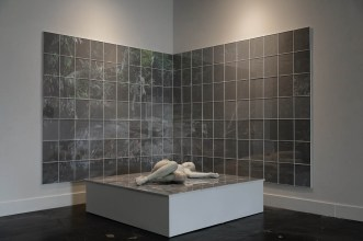 "Cristina Córdova, 'Altar', 2019, ceramic and photograph installation, 83 x 75 x 82""."