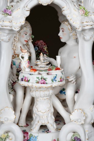 "Chris Antemann, 'A Little Feast of Folly' 2019, porcelain, 23 x 12 x 12""."
