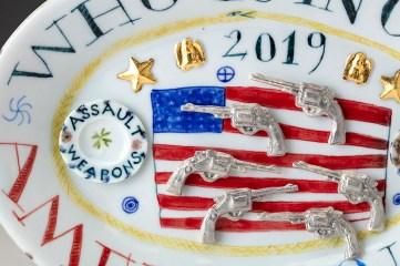 "Mara Superior, ""Who is in Charge, America?"", 2019, high-fired porcelain, ceramic oxides, underglaze, glaze, overglaze enamel, gold leaf, 6.5 x 9.5 x 1'', detail."