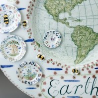 "Mara Superior, ""Only One Planet Earth"", 2019, high-fired porcelain, ceramic oxides, underglaze, glaze, gold leaf, 16 x 16 x 1.5'', detail."