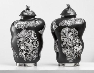 "Kurt Weiser, ""Black and White Vase 1 & 2"", 2019,"