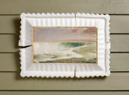 "Evan Hauser ""Preservation & Use (Niagara, Frederic Edwin Church, 1857)"", 2019, porcelain, digital ceramic print, gold leaf, 11 x 15 x 2.5""."