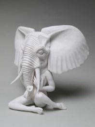 "Crystal Morey, ""African Bush Elephant"" 2020, hand-sculpted porcelain, 11 x 12.5 x 7""."