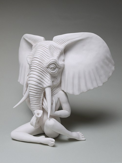 "Crystal Morey, ""African Bush Elephant"" 2020, hand-sculpted porcelain, 11 x 12.5 x 7""."