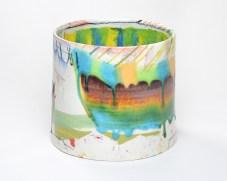 "Lauren Mabry, 'Cylinder 20.03' 2020, earthenware, slip, glaze, 8 x 9 x 9""."
