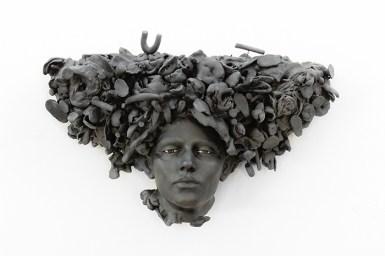 """Cristina Córdova, """"Vestigio"""", 2020, 16 x 29.5 x 9"""". ceramic, underglaze, glaze."""