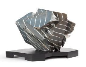 "Sally Silberberg, ""Black Striae"", 1988-2019, porcelain, enameled wooden base, 11 x 16.5 x 17""."