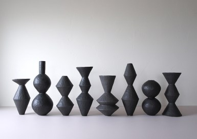 "Giselle Hicks, ""Group of Vessels"", 2019, stoneware, glaze, 21 x 60 x 8"", 2' x 5'."
