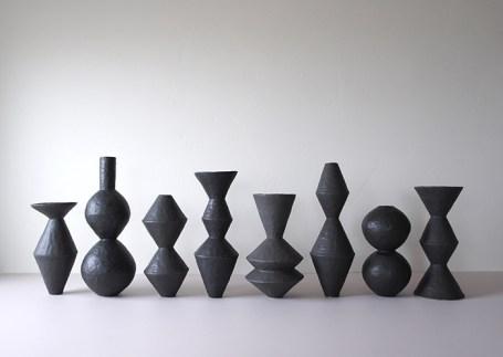 "Giselle Hicks, ""Group of Vessels"", 2019, stoneware, glaze, 21 x 60 x 8"", 2' x 5'."