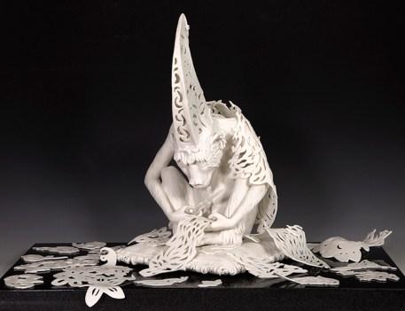 """Tricia Zimic, """"Diligence"""" 2019, porcelain, sculpture 15 x 9 x 9.25"""", granite pedestal 22 x 22""""."""