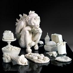 "Tricia Zimic, ""Abstinence"", 2020, porcelain, glaze, granite pedestal, 7.5 x 11 x 16""."
