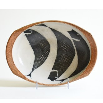 "Michael Simon, ""Oval bowl with cut rim"", 2005, stoneware, salt, glaze, 2.25 x 11 x 8"""