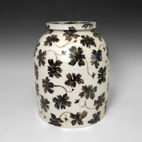 "Linda Sikora, ""Dome Jar"", 2019, porcelain, underglaze, salt glaze, 12.5 x 9.5 x 9.5"""