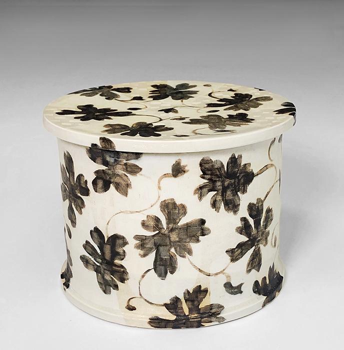 "Linda Sikora, ""Low Cylinder Box"", 2019, porcelain, underglaze, salt glaze, 6 x 8 x 8"""