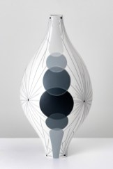 "Peter Pincus, ""Over Under, Under, Over"", 2020, colored porcelain with inlaid slip, 14 x 7 x 7""."