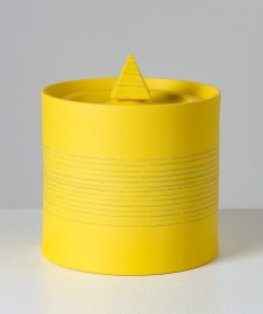 "Peter Pincus, ""Jar Drawing #1: Assignments and Arrangements (Yellow Jar)"", 2020, colored porcelain, 7 x 5 x 6"""