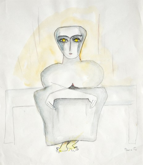 "Beatrice Wood, ""Untitled"", c. 1978, watercolor, graphite on paper (framed), 10 x 8""."