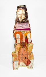 """Philip Eglin, '""""Virgin"""" is not a Dirty Word', 2003, earthenware, hand-built painted with slips, oxides, decals under and over a transparent lead-based glaze, 13x 11 x 34"""""""