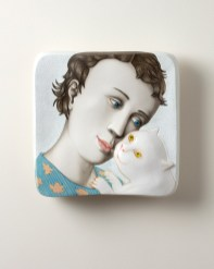 "Sergei Isupov, ""Love Notes (4)"", 2020, porcelain, slip, glaze, 9 x 9 x 2.5""."
