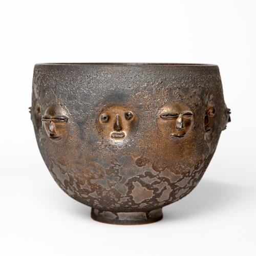 """Edwin Scheier, """"Gold Bowl with Relief"""", circa late 1980s, ceramic, glaze, 17 x 8.5 x 8.5"""""""