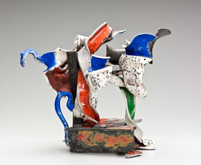 "Raymon Elozua, ""Reconstructed Pitcher #3"", 1987, earthenware, terracotta, whiteware, steel nails, glaze, 14.25""H"