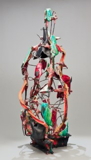 "Raymon Elozua, ""Wireframe Bottle #1 WF2"", 1991, earthenware, whiteware, steel wire, steel plate, glaze, 32.5""H"