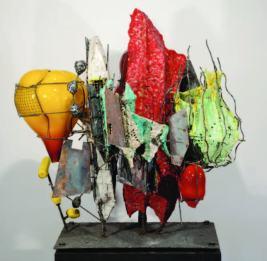 """Raymon Elozua, """"R&D V RE-23-1"""", 2014 ceramic, glaze, steel & glass 38 x 32 x 44"""""""