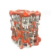 "Peter Christian Johnson, ""Scaffolded Vessel in Orange"", 2020, porcelain, 7.5 x 7.5 x 6"""