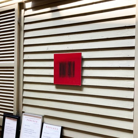 """Bobby Silverman, Porches Installation, """"Red Bar Code"""", 2013, re-fired commercial porcelain tile, 12 x 12"""""""