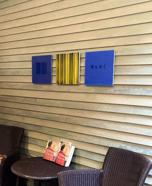 """Bobby Silverman, Porches Installation, """"Blue Bar Code"""", """"Yellow Drips"""", """"Blue"""", 2013, re-fired commercial porcelain tile, 12 x 12"""""""