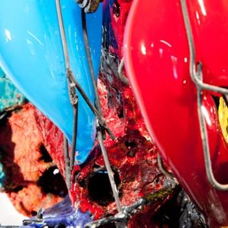 """Raymon Elozua, """"R&D VII RE-17-1"""", 2014, ceramic, glaze, steel & glass, 38 x 23 x 43"""""""