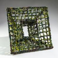 "Courtney Leonard, ""BREACH: Logbook 21 | NEBULOUS | FLOW TRAP STUDY G1"", 2021, Coiled & Woven Earthenware, Appx. 15"" x 15"" x 5.5"""