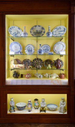 Detail, 'Forget Me Not, Extinction 1 & 2 in historical display cabinet, 'New American Scenery' at the Bowes Museum, Barnard Castle County Durham, UK, September 26, 2020 – January 9, 2022