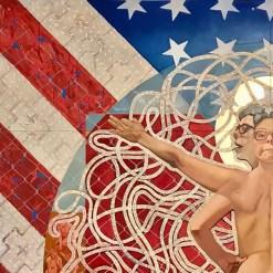 "Kukuli Velarde, ""Speak Spanish, Yo Hablo Inglés"", detail, 2021, oil on stretched canvas and wood panel substrate, mounted on 7 aluminum panels, 96 x 96""."
