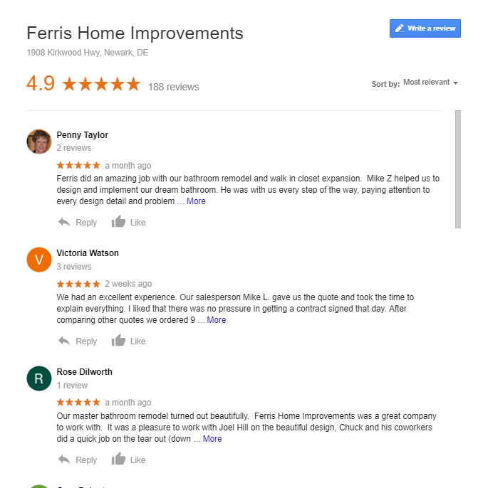 google reviews ferris home improvements