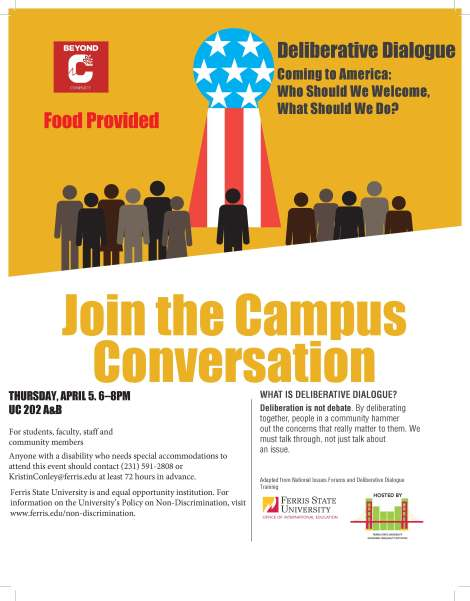 Coming to America Flyer. Courtesy of the Coordinator of the Economic Inequality Initiative at Ferris State University.