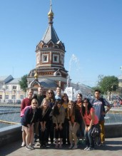Group by fountain in Yoroslovl. Photo by Devon Hodgson, used with permission by the Honors Program at Ferris State