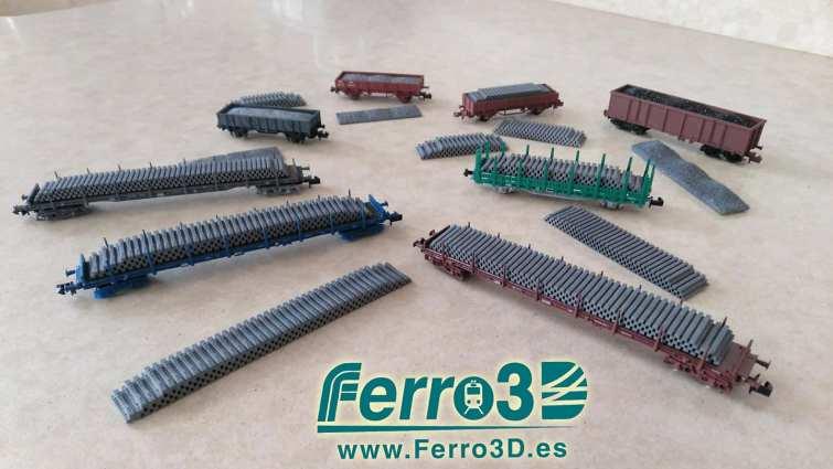 Carga de traviesas Renfe escala N Ferro3d