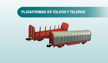 Vagones Toldos, plataforma KS, vagón telero, Transfesa Ferro3D