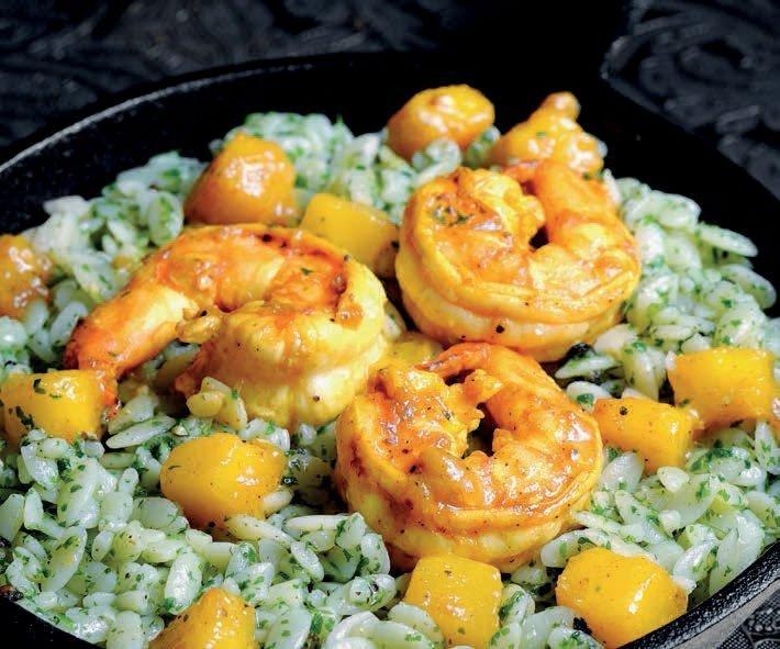 Pesto Risoni with Mango - Curry Shrimps